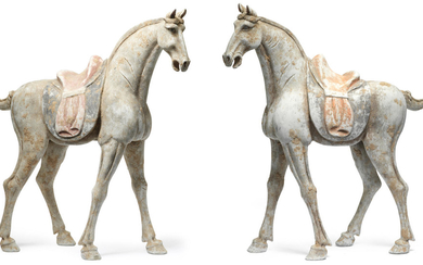 A pair of very large painted pottery horses