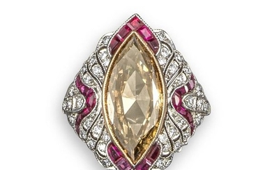 A fancy coloured diamond and ruby cocktail ring, c…