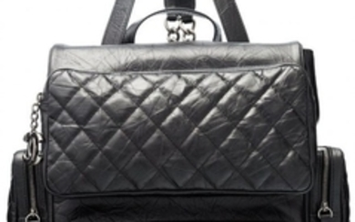 """16055: Chanel Black Aged Quilted Lambskin Leather """"Casu"""