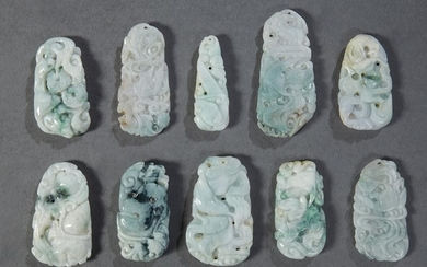 Group of Ten Chinese Carved Jade/Jadeite Pendants, 20th