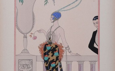 Georges Barbier - 'Let me alone' - Hand-colored stencil print with watercolor (1)