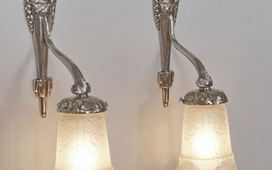 Mouynet & Muller Freres French 1930 Art Deco wall lights, sconces