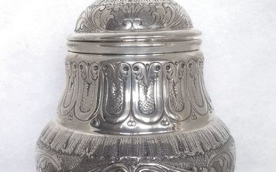 hand chased covered pot (1) - .800 silver - Italy - 1935 circa