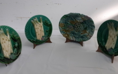 GROUP OF 4 MISC. GLAZED FAIENCE ASPARAGUS PLATES