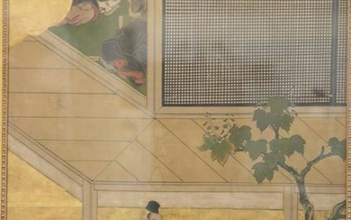 Chinese painting on paper, early painted section of a