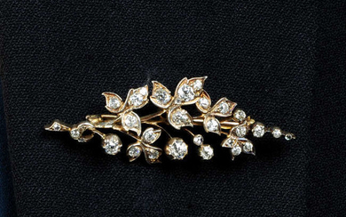 A late Victorian silver and gold, old-cut diamond floral spray brooch.