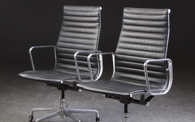 Charles Eames. Two office chair, Aluminium Group, black leather (2)