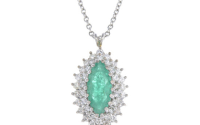 An 18ct gold emerald and diamond cluster pendant, on chain.