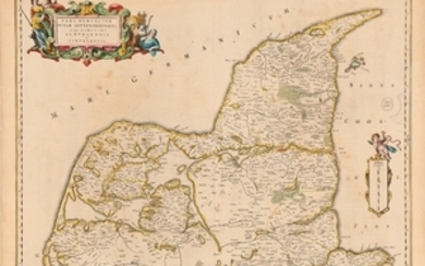 "1907/55: Johan Blaeu: ""Pars Borealior Iutiæ Septentrionalis"". Map of Nothern Jutland. Handcoloured engraving. Sheet size 53 x 62 cm. Unframed."
