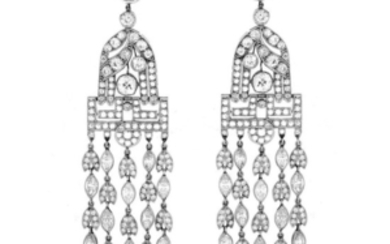 29.20ct TW Diamond and Platinum Earrings