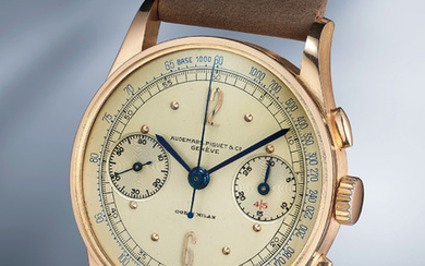 Audemars Piguet, Ref. Photo number 513 An extremely attractive, well preserved and rare pink gold chronograph wristwatch