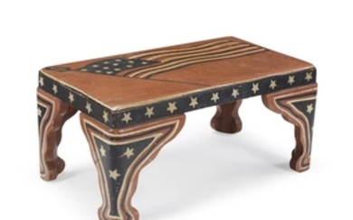 Carved and painted foot stool decorated with the American...