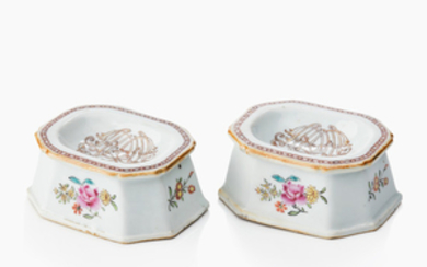 A pair of Chinese famille rose salts