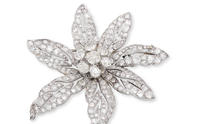 A DIAMOND FLOWER BROOCH, CIRCA...