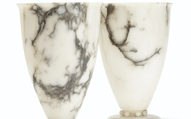A PAIR OF FRENCH ALABASTER LAMPS, 20TH CENTURY