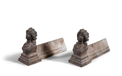 A PAIR OF FRENCH CAST IRON FIGURAL ANDIRONS, 19th …