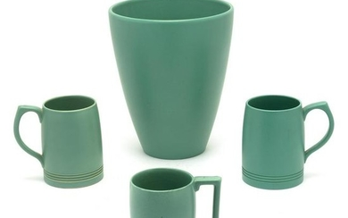 Keith Murray For Wedgwood Celadon Vase with Three Mugs.