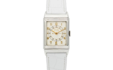 LeCoultre. A stainless steel manual wind reversible rectangular wristwatch