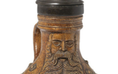 A PEWTER-MOUNTED GERMAN SALTGLAZED STONEWARE TANKARD AND COVER, 17TH CENTURY, POSSIBLY COLOGNE