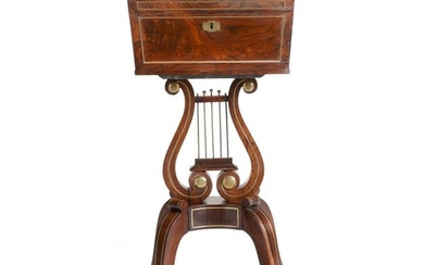 A Regency brass mounted goncalo alves teapoy