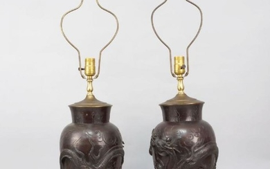 A pair of Japanese bronze vases, late...
