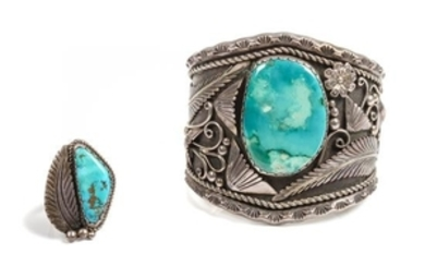 Southwestern Silver and Turquoise Bracelet and Ring Set