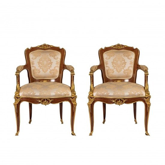 A Pair of Louis XVI Style Gilt-Bronze Mounted Chairs
