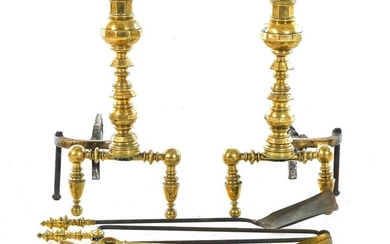Pair American brass lighthouse andirons, and tools (6pcs)