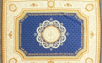 A GOOD 19TH CENTURY AUBUSSON CARPET with blue centre