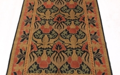 Arts and Crafts Design Hand-Knotted Tibetan Carpet