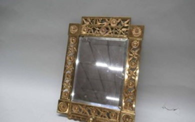 Lot Art Aesthetic Movement Brass Wall Mirror