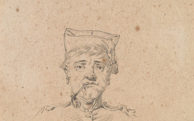 CHARLES ÉMILE JACQUES (Paris 1813 1894 Paris) Group of 4 pencil portrait studies of soldiers.