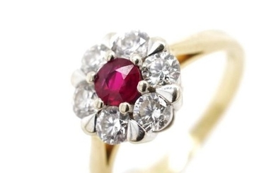 Ruby and diamond 18ct yellow gold cluster ring marked 750. A...