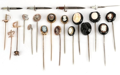 Twenty Stick Pins; including a portrait and garnet example in...