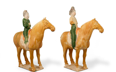 A pair of sancai-glazed pottery horses and riders