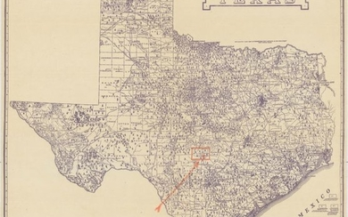"""Texas Oil Map with Accompanying Lease, """"Geological Map of Texas [with] [Gillespie County Oil and Gas Lease]"""""""