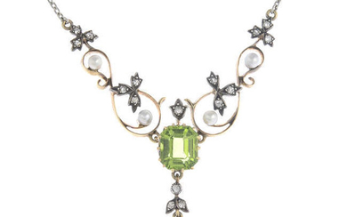 An early 20th century silver and gold, peridot, single-cut diamond and seed pearl necklace.