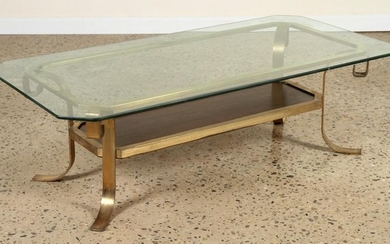 BRONZE AND GLASS COFFEE TABLE INSET WALNUT C.1960