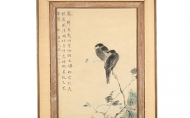A Chinese Hand Colored Print of Two Black Ravens