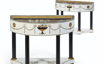 A PAIR OF ITALIAN INLAID MARBLE D-FORM JARDINIERES, 20TH CENTURY