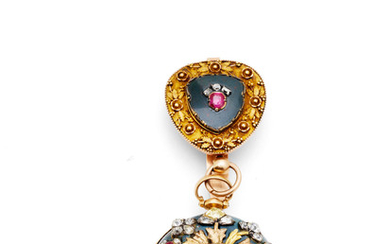 Jacob Debaufre, London. A gold and bloodstone key wind open face pocket watch later enhanced with diamonds, rubies and moss agate