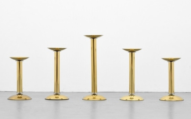 Karl Springer Candlesticks, Set of 5 - Karl Springer; Karl Springer Ltd