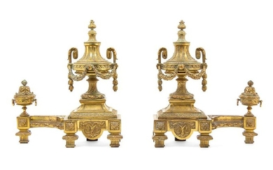*A Pair of Louis XVI Style Gilt Bronze Chenets