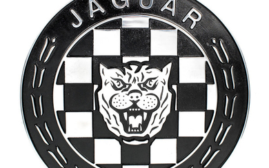 A painted cast aluminium Jaguar sign,