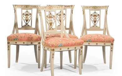 Painted and Parcel Gilt Side Chairs