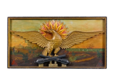 VERY FINE AND RARE PATRIOTIC CARVED AND GILTWOOD SPREAD-WINGED AMERICAN EAGLE WITH PAINTED SEASCAPE BACKGROUND WALL PLAQUE, POSSIBLY JOSEPH MASON (JOHN WILLIAMS) (ABT.1780) AND WILLIAM HENRY COFFIN (1812-1898), PROBABLY NANTUCKET, MASSACHUSETTS, CIRCA...