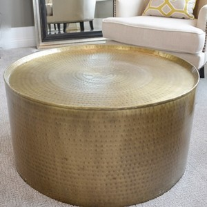 Lot Art Brass Drum Coffee Table