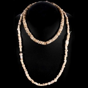 Lot Art Strands Of Carved Bone Beads And Shell Discs
