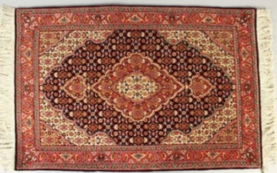 A GOOD SMALL PERSIAN PRAYER RUG, blue ground with
