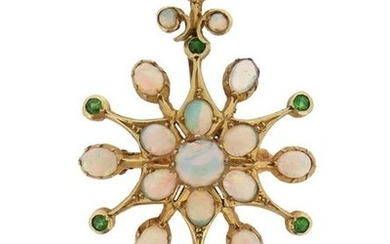 A Victorian opal and demantoid garnet pendant, set...